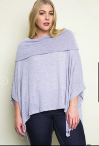Grey Poncho - Sister Tribe Boutique