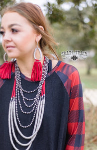 Rag Top Plaid Raglan - Sister Tribe Boutique