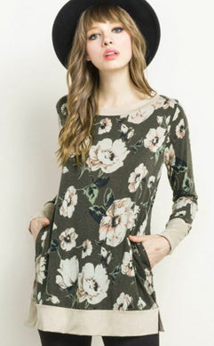 Olive Floral Tunic - Sister Tribe Boutique