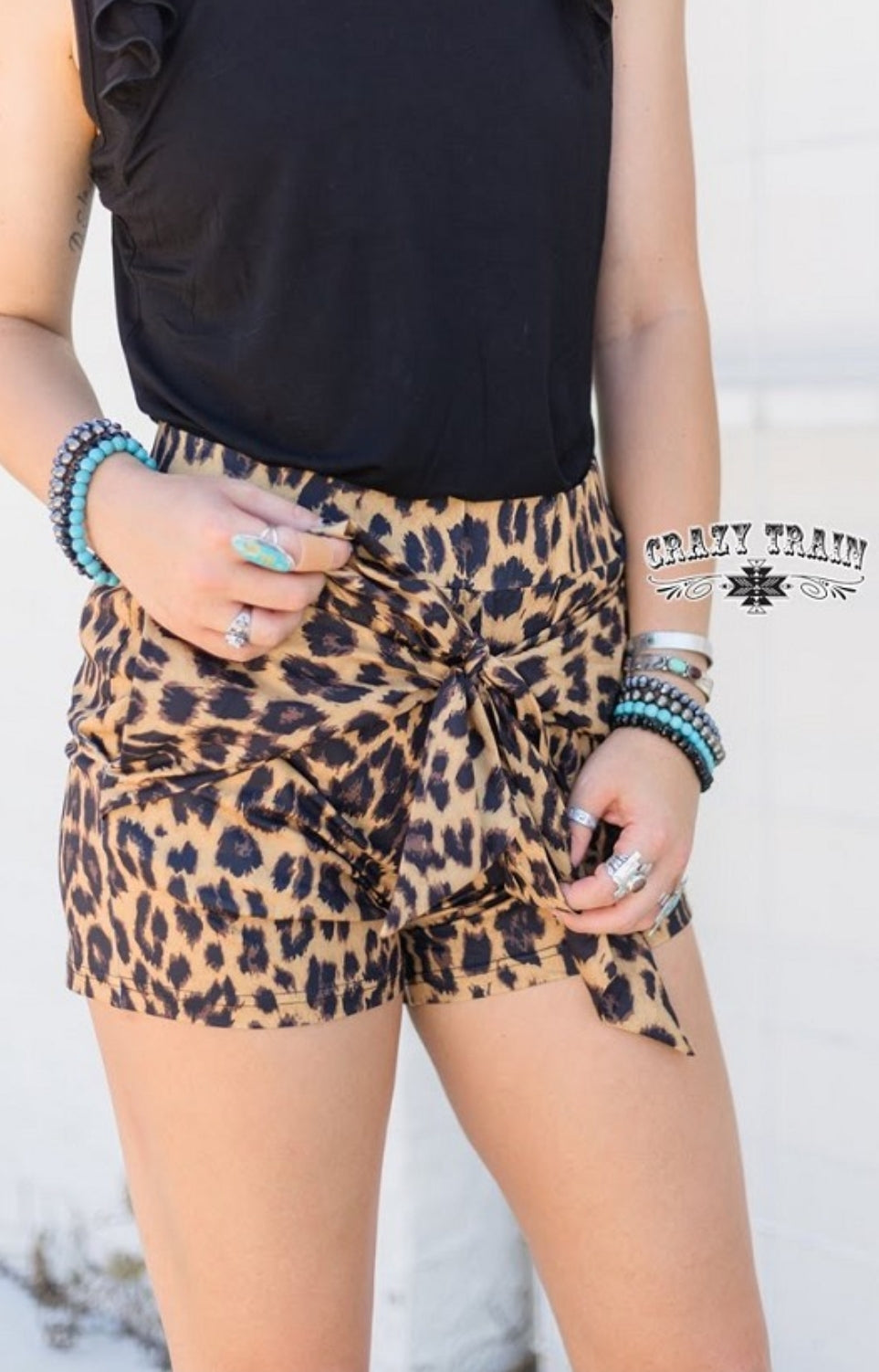 Leopard {Bow} Shorts - Sister Tribe Boutique