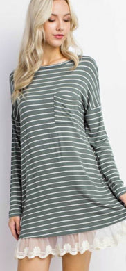 Military Stripes Lace Dress - Sister Tribe Boutique