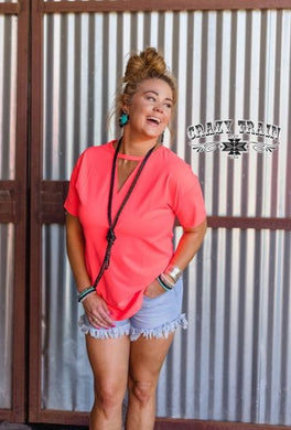 Crazy Coral Textline Top - Sister Tribe Boutique
