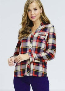 Red Plaid Top - Sister Tribe Boutique