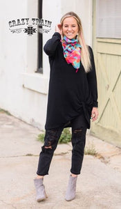 Black Knit Knot Top - Sister Tribe Boutique