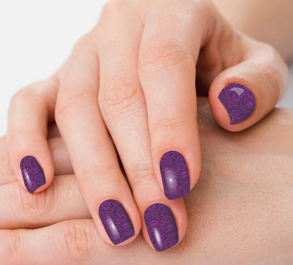 Saddle Up*Purple Tooled Nail Polish Strips - Sister Tribe Boutique