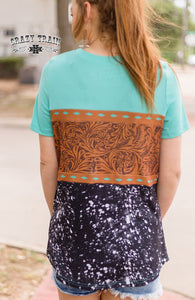 Tooled Leather Tee - Sister Tribe Boutique