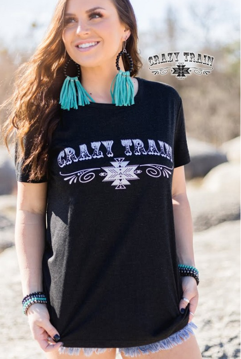 Black Crazy Train Tee - Sister Tribe Boutique