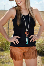 Load image into Gallery viewer, Deep Brown Fringe Shorts - Sister Tribe Boutique