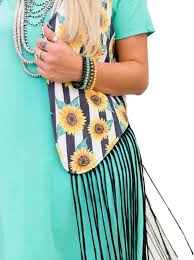 Sunflower Fringe Vest - Sister Tribe Boutique
