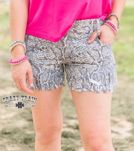 Load image into Gallery viewer, Snake Print Fringe Shorts - Sister Tribe Boutique
