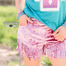 Load image into Gallery viewer, Pink Velvet Fringe Shorts - Sister Tribe Boutique