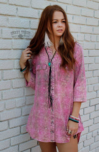 Pink Plaid Button Down - Sister Tribe Boutique