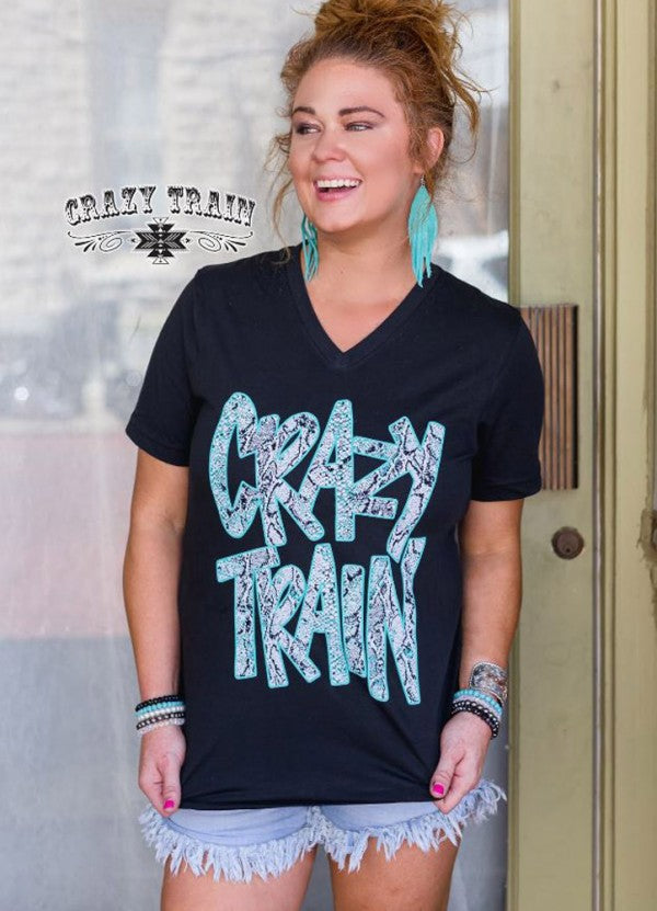 Crazy Train Black Python Tee - Sister Tribe Boutique