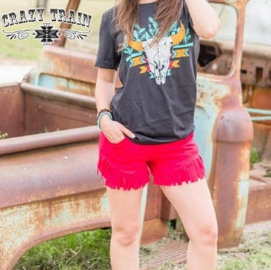 Red Fringe Shorts - Sister Tribe Boutique