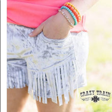 Load image into Gallery viewer, Silver Velvet Fringe Shorts - Sister Tribe Boutique