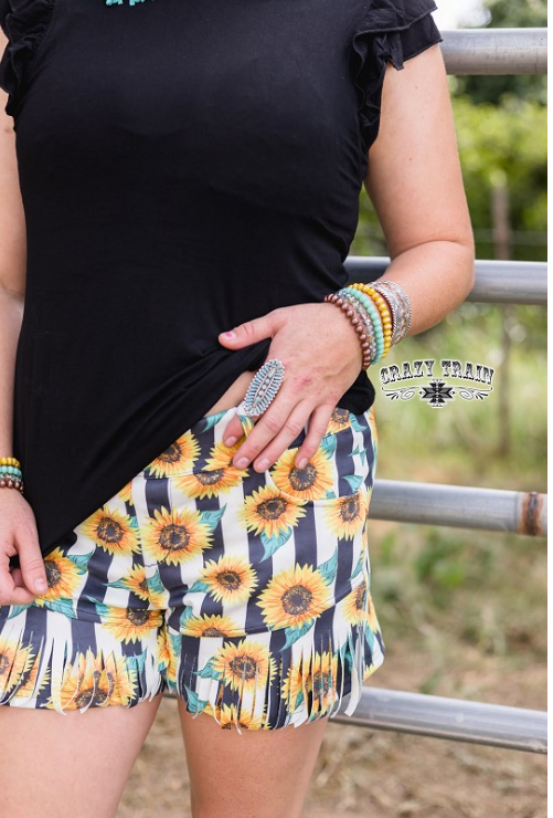 Sunflower Fringe Shorts - Sister Tribe Boutique