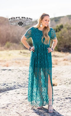 Teal Rayanne Lace Maxi Dress - Sister Tribe Boutique