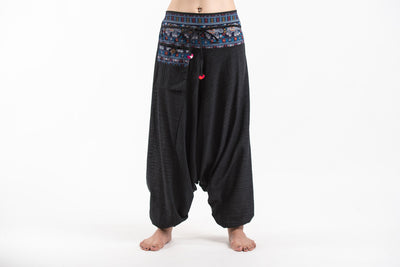 Pinstripe Cotton Low Cut Women's Harem Pants with Elephant Trim in Black