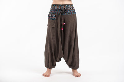 Pinstripe Cotton Low Cut Women's Harem Pants with Elephant Trim in Brown