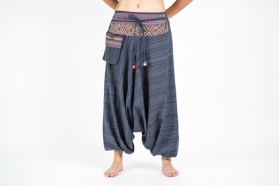 Pinstripe Cotton Low Cut Women's Harem Pants With Hill Tribe Trim Navy