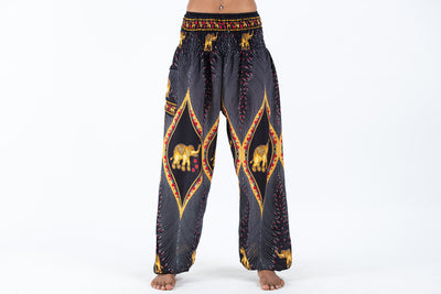 Peacock Elephant Women's Elephant Pants in Black