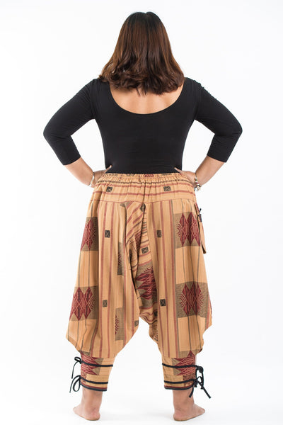 Plus Size Thai Hill Tribe Fabric Women Harem Pants with Ankle Straps in Beige