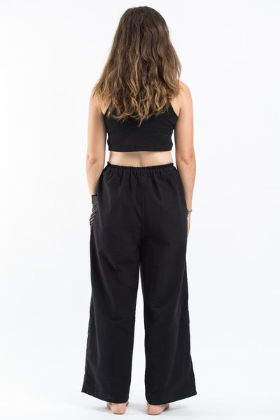 Thai Cotton Women's Pants With Hill Tribe Trim in Black