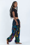 Tie Dye Cotton Women Harem Pants in Patchwork Blue