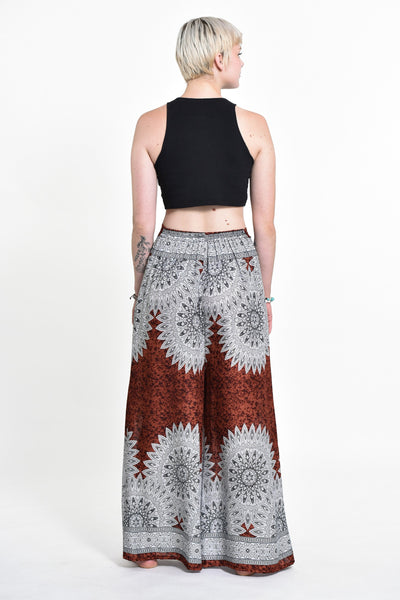 Marble Mandalas Palazzo Style Harem Pants in Brown