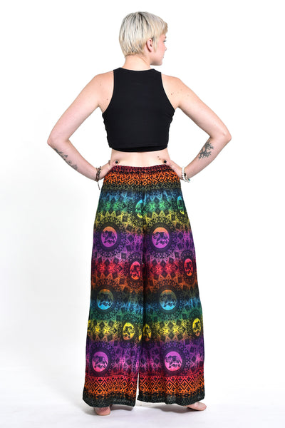 Rainbow Elephant Palazzo Style Elephant Pants in Purple
