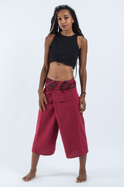 Women's Cropped Fisherman Pants with Pattern Waist Band in Red