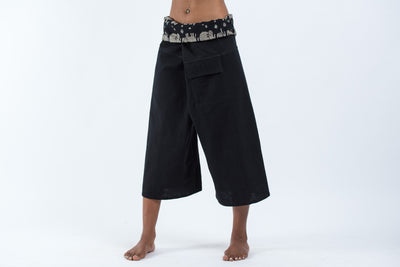 Women's Cropped Fisherman Pants with Pattern Waist Band in Black