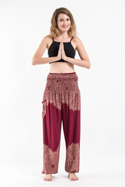 Floral Mandalas Women's Harem Pants in Red