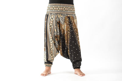Plus Size Peacock Feathers Drop Crotch Women's Harem Pants in Black