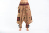Thai Hill Tribe Fabric Women's Harem Pants with Ankle Straps in Beige