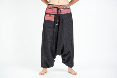 Pinstripe Cotton Low Cut Women's Harem Pants With Hill Tribe Trim Black
