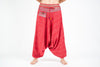 Pinstripe Cotton Low Cut Women's Harem Pants With Hill Tribe Trim Red