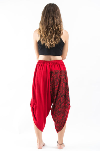 Two Tone Leaves Prints Women's Three Quarter Pants in Red