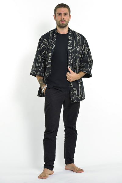 Japanese Print Cotton Kimono Cardigan in Black