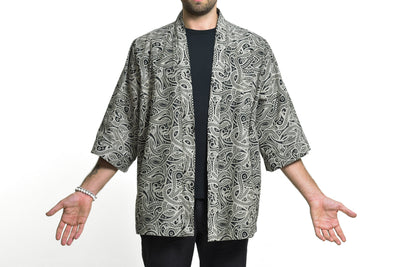 Paisley Print Cotton Kimono Cardigan in Black