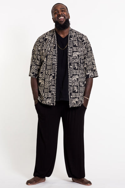 Elephant Print Cotton Kimono Cardigan in Black