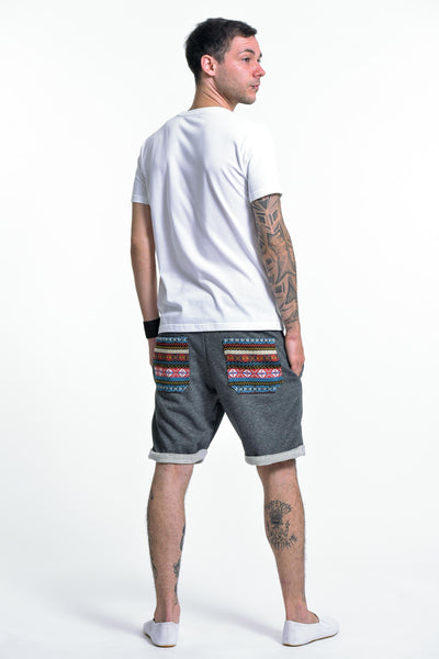 Men's Terry Shorts with Aztec Pockets in Black
