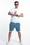 Men's Terry Shorts with Aztec Pockets in Blue