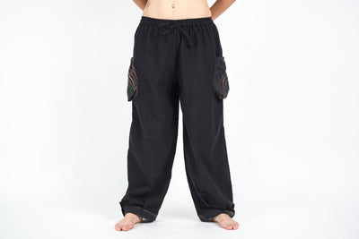 Thai Cotton Women Drawstring Pants With Hill Tribe Trim Black