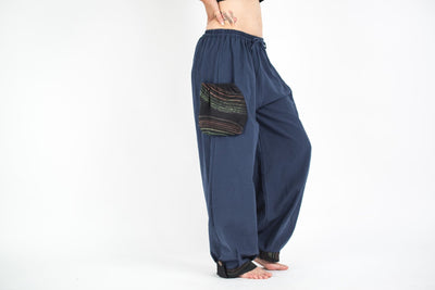 Thai Cotton Women Drawstring Pants With Hill Tribe Trim Blue