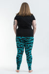 Plus Size Marble Tie Dye Cotton Leggings in Turquoise