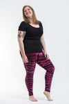 Plus Size Melting Stripes Tie Dye Cotton Leggings in Magenta