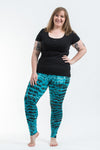 Plus Size Melting Stripes Tie Dye Cotton Leggings in Turquoise