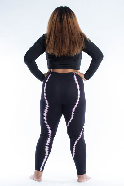 Plus Size Black Tie Dye Cotton Leggings in Electra Pink