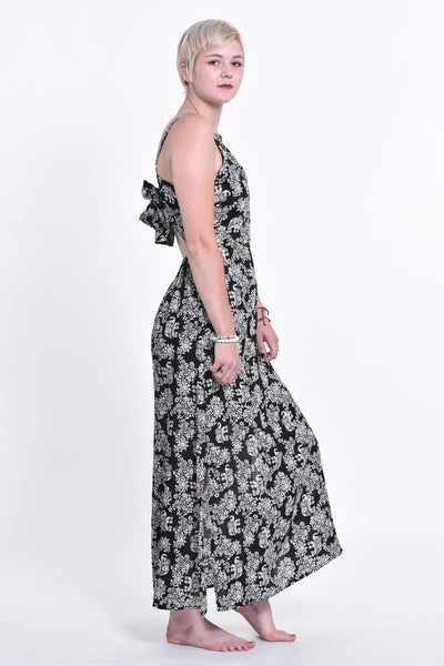 Blooming Elephant Tie Back Maxi Dress in Black